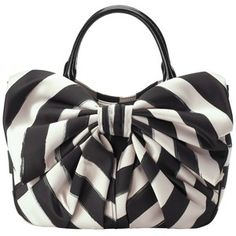 Handbags Purses Carryalls Lulu Guinness Wanda Small Bow Stripe Handbag, Black/White - Polyvore