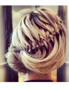 Waterfall braid in updo.
