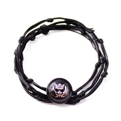 RAVE Mens Black Knotted Bracelet with Silver Black King Emblem Button in Wax Cord and Metallized Poly Size Adjustable to Necklace and Anklet