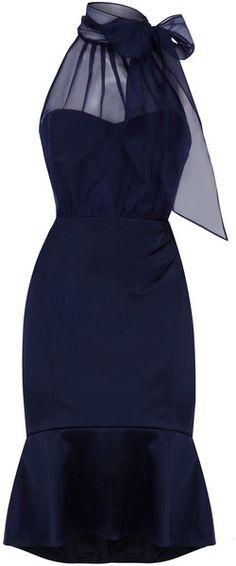 Coast Rene Satin Bow Dress with Sweetheart Neckline