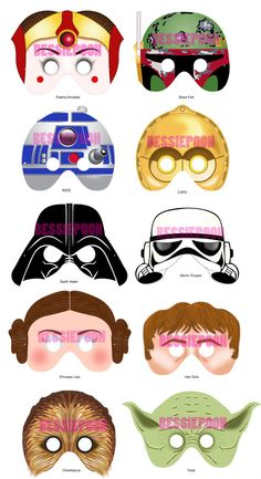 STAR WARS PARTY Printable Mask Collection. Craft Project. Includes 10 characters. New Padme Amidala and Boba Fett masks. on Etsy, $15.00