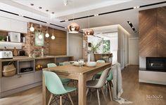 Ne place foarte mult combinația de verde pastel cu lemn și alb din această propunere de amenajare realizată de studioul de arhitectur...