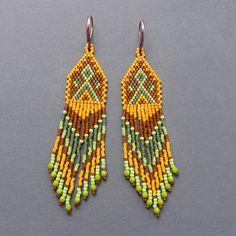 Long Native American Inspired Seed Bead Earrings  by Anabel27shop,