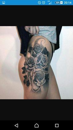 #tatuaż #tattoo #róże #perły