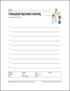 Print the volleyball worksheets to help your students learn interesting terms about this action-packed sport. Volleyball Drills, Volleyball Ideas, School Sports, Alphabet Activities, Student Learning, Worksheets, Free Printables, Reading, Grandchildren