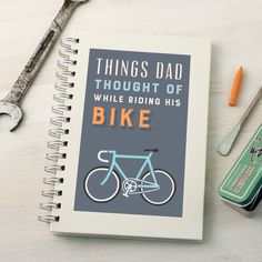 A personalised bike notebook with a smart typographic design. Perfect for avid…