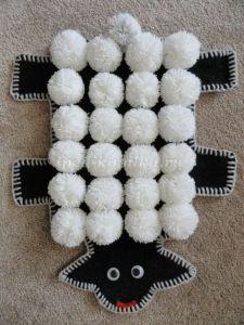 Коврик овечка из помпонов - Своими руками