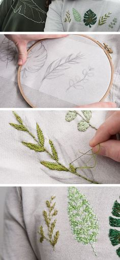 floral embroidery DIY- Anleitung: Bltter sticken, Stickvorlagen fr Bltter / diy tutorial: embroidery for statement leaves, stitching via Embroidery Designs, Embroidery Leaf, Cross Stitch Embroidery, Machine Embroidery, Sweater Embroidery, Diy Clothes Embroidery, Paper Embroidery, Diy Broderie, Bordados E Cia