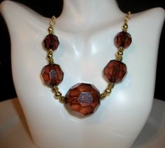 Light Brown Chunky Bead Statement Necklace by Culbertscreations, $23.00
