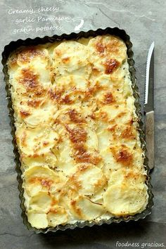 These parmesan potatoes au gratin are the creamiest and most delicious you'll ever try! Thin sliced and full of cheese, they are perfect hot or cold.
