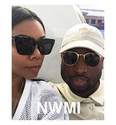 9b36969145 Dwyane Wade taking selfies with wife Gabrielle Union wearing his MYKITA  Peyton in Glossy Gold Sunglasses.