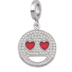 Heart Eyes emoji® Charm-See the world through heart shaped eyes. This sterling silver charm is covered in sparkling CZs that will have you falling in love with emoji.