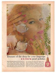 Vintage 1960 Cutex Nail Polish Magazine Print Ad 1960s Beauty Advertisement