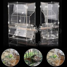 Acrylic Pet Parrot Bird Finches Automatic Cage Feeder 6Size Single/Double Hopper #UnbrandedGeneric
