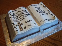 open Bible cake with Bible verse