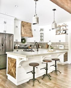 Beautiful open farmhouse kitchen with wood detailing. Our Dane chandeliers fit perfectly in this space by Beautiful open farmhouse kitchen with wood detailing. Our Dane chandeliers fit perfectly in this space by White Farmhouse Kitchens, Farmhouse Style Kitchen, Home Decor Kitchen, Country Kitchen, New Kitchen, Home Kitchens, Rustic Farmhouse, Kitchen Counters, Kitchen White