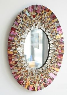 Designer mirror - deco ideas with shiny accessories - Mosaic art - Mirror Mosaic, Mosaic Art, Mosaic Glass, Mosaic Tiles, Stained Glass, Mosaics, Mirror Mirror, Long Mirror, Mirror Glass