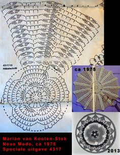 A pattern of a crocheted doily from the magazine 'Neue Mode' from about 1975, now used as a suncatcher.