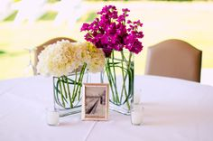 This is a nice simple arrangement but I don't know where we could rent the vases, should check with the caterer.