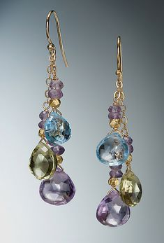Blue Topaz, Citrine and Amethyst Earrings: Judy Bliss: Gold & Stone Earrings - Artful Home