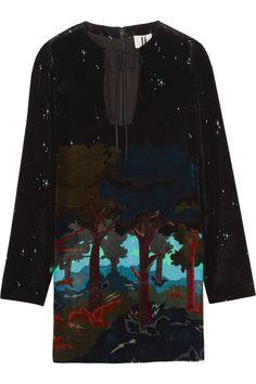 TOPSHOP UNIQUE Valiant printed velvet mini dress. #topshopunique #cloth #dresses