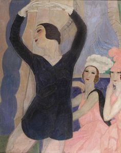 The Russian Dancer Vera Nemchinova Performing Les Biches (c.1925), oil on canvas by Leon De Smet (1881-1966), Belgian/lived in Britain - portraitist and proponent of Impressionism  (oscardevos.be) - (lawrenceleemagnuson)