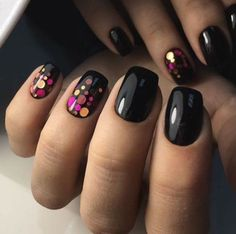 Black nails with multi dots