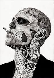 He scares me, but this picture looks so cool… Rick Genest, famous tattooed model. He scares me, but this picture looks so cool! Rick Genest, Head Tattoos, Skull Tattoos, Body Art Tattoos, Tatoos, Skull Face Tattoo, Zombie Tattoos, Dragon Tattoos, Ink Tattoos
