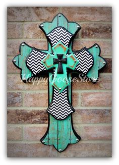 MEDIUM wooden wall CROSS in Antiqued Turquoise, Aged Turquoise Wood, Black & White Chevron, with a black iron top cross. Wooden Crosses, Crosses Decor, Wall Crosses, Painted Crosses, Mosaic Crosses, Wood Crafts, Diy And Crafts, Wooden Cross Crafts, Bible Crafts