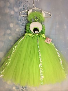 Mike Wazowski Monsters Inc tutu dress costume green Sulley fits Halloween Tutu Dress, Tinker Bell Costume, Mike Wazowski, Monsters Inc, Tinkerbell, Cute Dresses, Wings, Tulle, Costumes