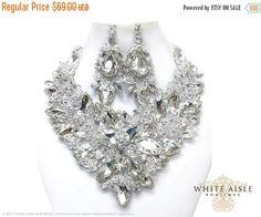 ON SALE Crystal Wedding Jewelry Set Vintage by WhiteAisleBoutique