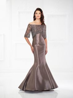 2dec2108b6d Mon Cheri Montage 118987 Highlight your best assets in this stunning off -the-shoulder Mikado mermaid gown featuring hand-beaded tulle three-quarter  sleeves ...