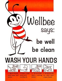 1964 Hand Washing Poster (should have this posted in the urgent care.. man. so many adults coughing without covering.. i'm thinking maybe they don't do this either)