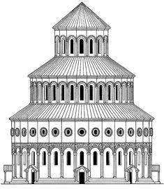 Early Medieval Armenia: Reconstructed drawing of Zvartnots Cathedral, Armenia, 650.The Armenians architecture emphasized on platonic idea of volume clarity and objective quality of the building unlike Byzantine architecture which emphasized the interior over the exterior.The Zvartnots Cathedral has a Greek cross plan, and The external consisted of three telescopic cylinders. The Cathedral was badly damaged by an earthquake in 10th century.