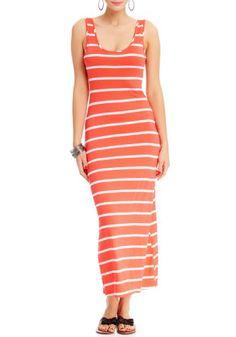 2b Sleeveless Stripe Basic Maxi Dress 2b Day Dresses Neon Coral-s