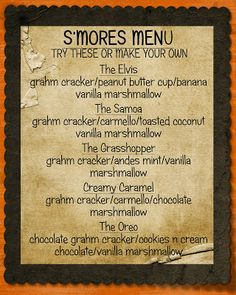 Creative Touch by Krystal : Smore's Bar Menu (smores bar recipe ovens) S'mores Bar, Bar Menu, Pig Roast, Camping Meals, Camping Parties, Camping Cooking, Camping Recipes, Camping Hacks, Toasted Coconut