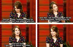 Tina Fey on raising her daughter. Her last expression says it all!