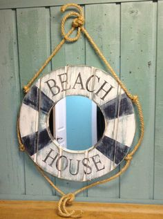 Mirror Life Preserver Ring Nautical Beach House by CastawaysHall