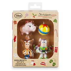 Disney Store 2016 Toy Story Minis Sketchbook Christmas Ornament Set New w Box