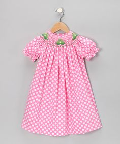 Take a look at this Pink Polka Dot Frog Bishop Dress - Infant, Toddler & Girls by Vive la Fete on #zulily today!