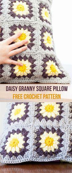 Daisy Granny Pillow – Crochet Pattern + Squares Tutorial