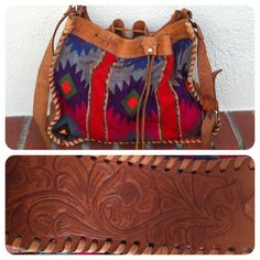 Vintage Aztec Southwestern Purse Tribal Navajo Boho Hippie Tooled Leather Drawstring Crossbody Mexican Summer Festival.