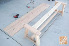 Assembling a farmhouse bench DIY project