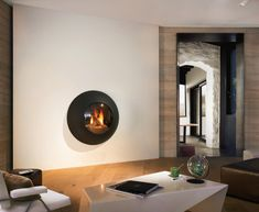 Gas wall-mounted fireplace with panoramic glass LENSFOCUS By Focus creation Focus Fireplaces, Wall Mounted Fireplace, Oversized Mirror, Living Spaces, Windows, Architecture, Glass, Table, Design