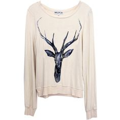 Wildfox Couture Stag Baggy Beach Jumper in Dirty White found on Polyvore