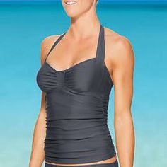 Sara Bra Cup Halter Tankini - The sophisticated suit separate designed to give your favorite prints a solid match.