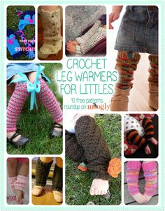 Change the colors and leave off the bows and you have boy legwarmers, maybe to wear under jeans   <   Crochet Leg Warmers for Babies and Kids -all free! Love free #crochet leg warmers patterns!