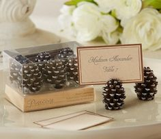 Pine Cone Place Card Holders (Set of 6) (Kate Aspen 25119NA) | Buy at Wedding Favors Unlimited (http://www.weddingfavorsunlimited.com/pine_cone_place_card_holders_set_of_6.html).