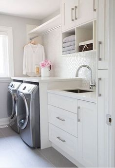Laundry room design ideas the ium thinking shelf organization storage tips for small narrow laundry room design organization ideas storage tips for jpg White Laundry Rooms, Mudroom Laundry Room, Laundry Room Layouts, Laundry Room Remodel, Farmhouse Laundry Room, Laundry Room Organization, Laundry Room Design, Laundry In Bathroom, Organization Ideas