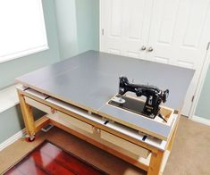 Build a Versatile Sewing and Craft Table Sewing Room Design, Sewing Room Storage, Craft Room Design, Sewing Spaces, Sewing Room Organization, Craft Room Storage, Sewing Rooms, Sewing Studio, Vintage Sewing Table